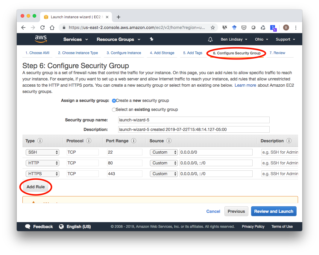 AWS EC2 Security Group Configuration