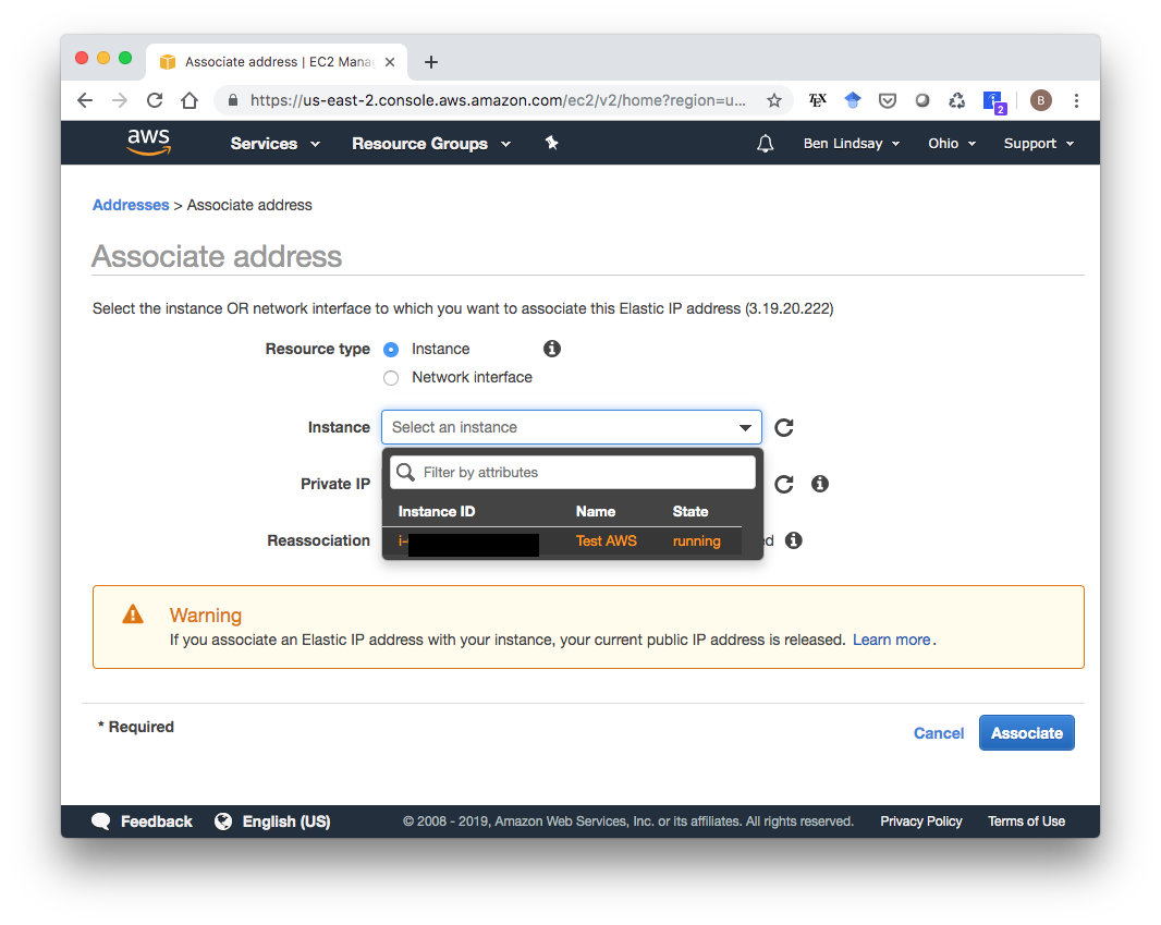 AWS Select Instance to Associate Elastic IP